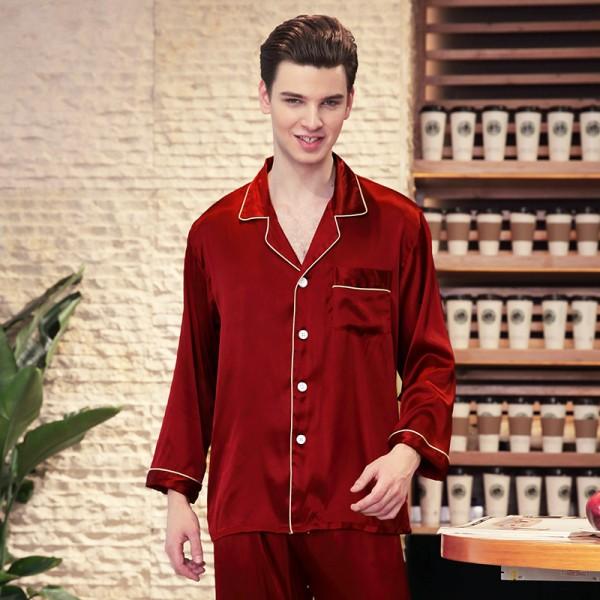 Mens Satin Shirt & Pants 2Pcs Pajamas Sets 4 Pure Colors