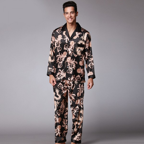 Mens Satin Shirt & Pants 2Pcs Pajamas Sets Dragon Print
