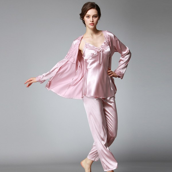 Womens Satin Lace Robe Camisole & Pants 3Pcs Pajamas Sets
