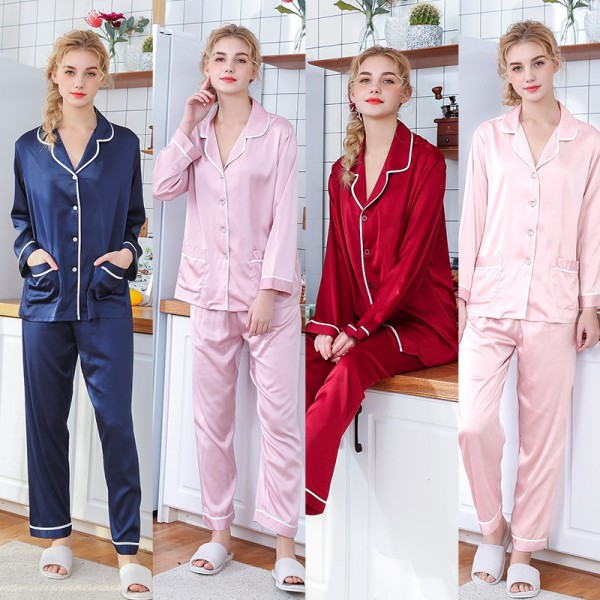 Womens Satin Shirt & Pants 2Pcs Pajamas Sets