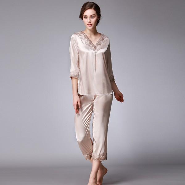 Womens Satin Lace Top & Pants 2Pcs Pajamas Sets