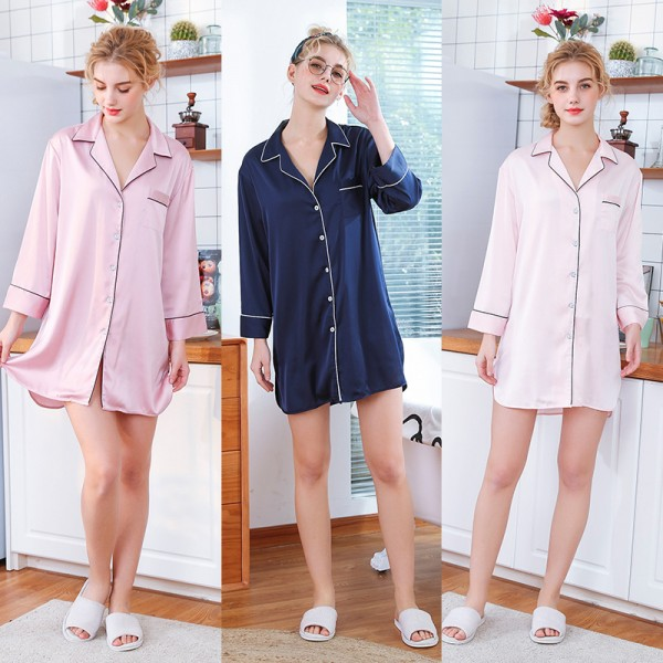 Womens Satin Nightshirt Pajamas Sleepwear Simple 3 Pure Colors