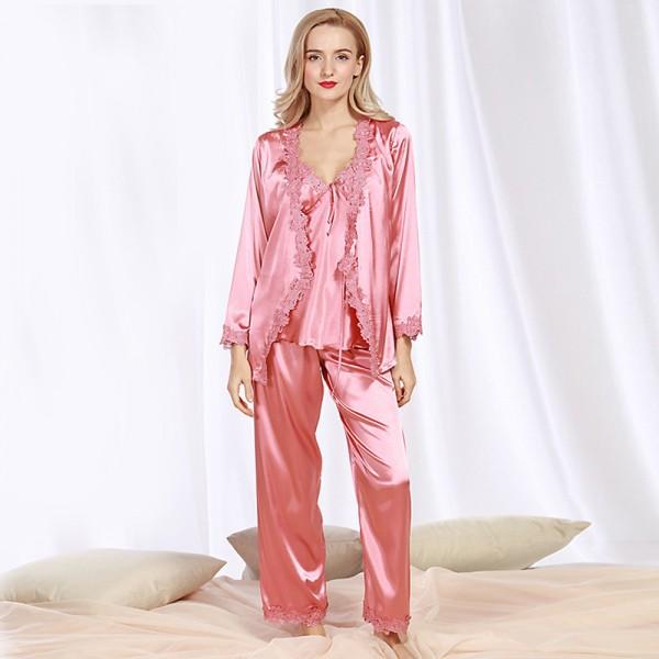 Womens Satin Lace Robe Camisole & Pants 3Pcs Pajamas Sets 4 Colors