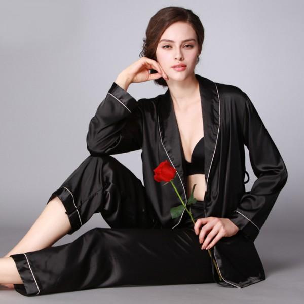 Womens Satin Robe & Pants 2Pcs Pajamas Sets 2 Colors