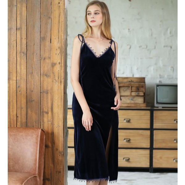 Womens Long Velvet Nightgown Lace Sexy V-neck 5 Colors