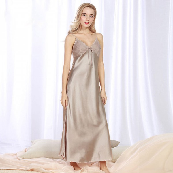 Womens Summer Long Satin Nightgown Sexy Lace 6 Colors