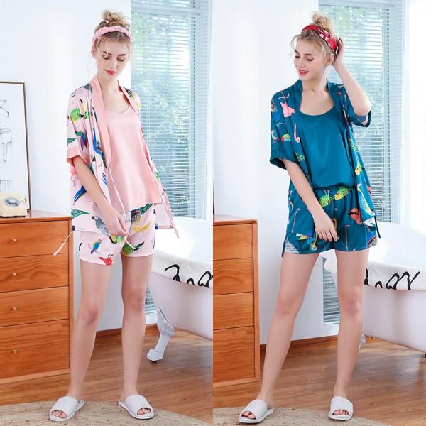 Womens Summer Satin Robe Camisole & Shorts 3Pcs Pajamas Sets Flamingo Print
