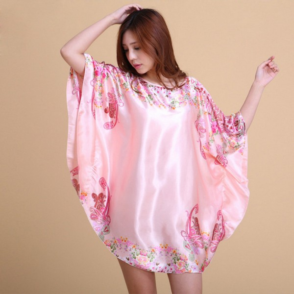 Womens Summer Pink Satin Batwing Sleeve Pullover Nightgown