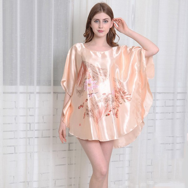 Womens Summer Satin Batwing Sleeve Pullover Nightgown Chinese style