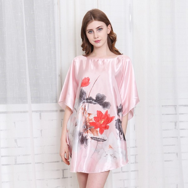 Womens Summer Satin Batwing Sleeve Pullover Nightgown Ink Painting Print