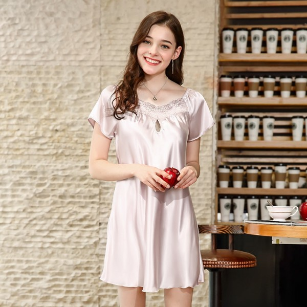 Womens Summer Short Satin Nightgown Sexy Style 9 Colors