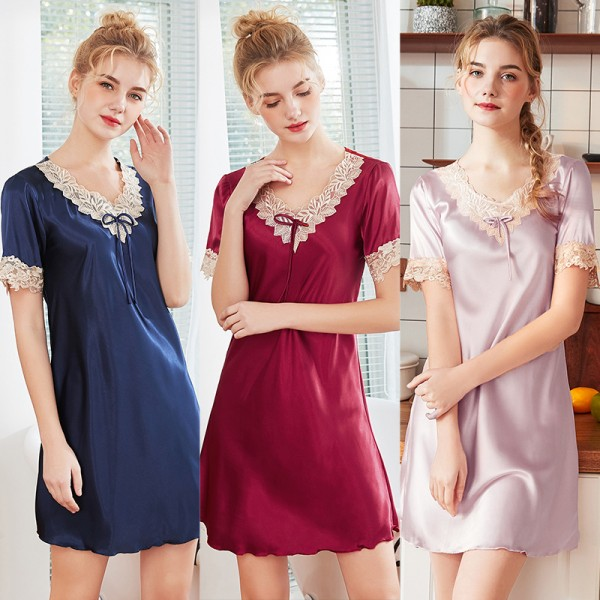 Womens Summer Short Satin Nightgown Lovely Lace Style