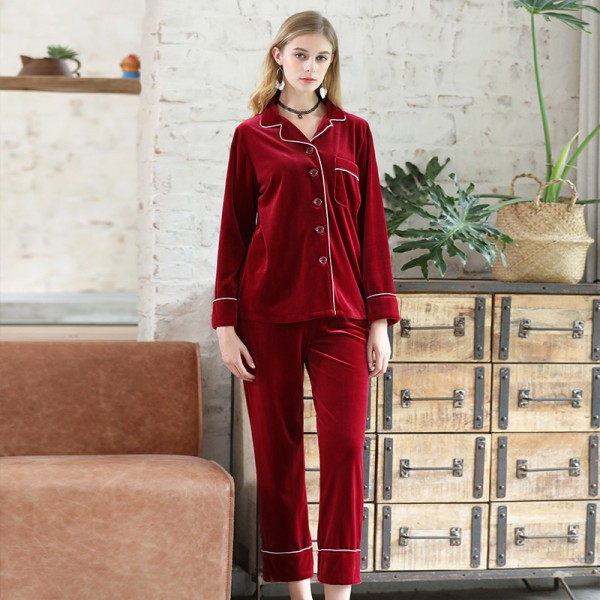 Womens Winter Velvet Shirt & Pants 2Pcs Pajamas Sets 5 Pure Colors