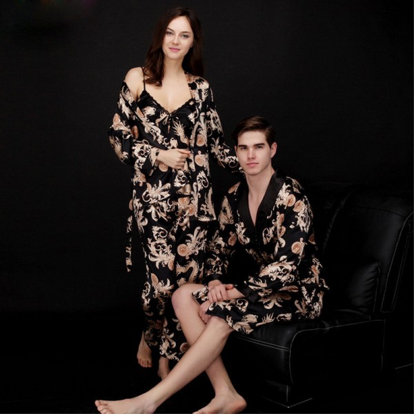 Womens 3-piece Satin Pajamas & Mens Short Satin Robe for Couple