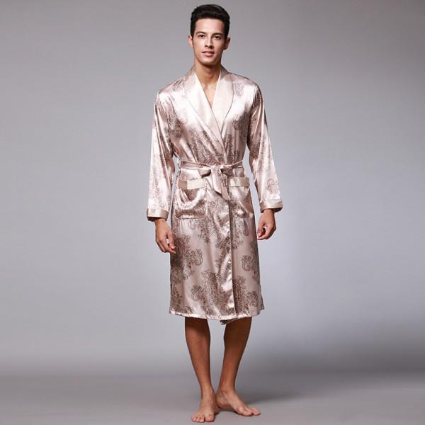 Mens Short Satin Robe Luxury Print 2 Colors