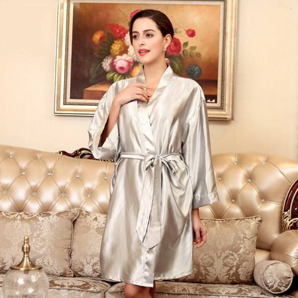 Womens Short Satin Robe Kimono Simple Style 8 Pure Colors