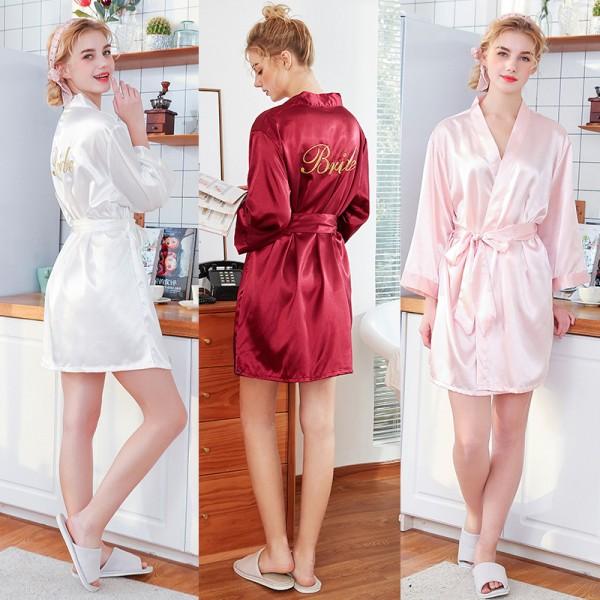 Womens Short Satin Bride Robes 3 Colors