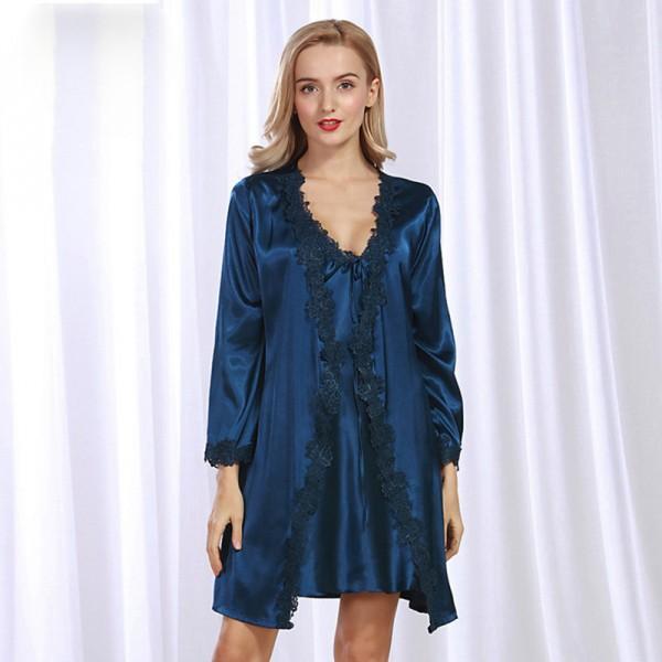 Womens Short Satin Lace Robe & Dress Pajamas Sets 5 Colors