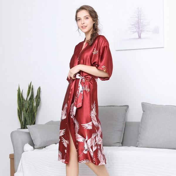 Womens Long Satin Robe Kimono Style Crane Print 3 Colors Summer