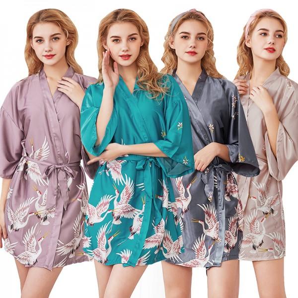 Womens Short Satin Robe Kimono Style Crane Print 4 Colors Summer