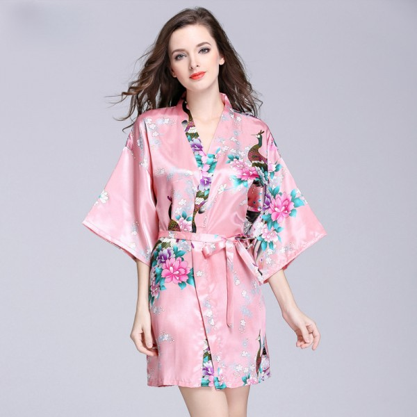 Womens Short Satin Robe Kimono Style Peacock Print 6 Colors Summer
