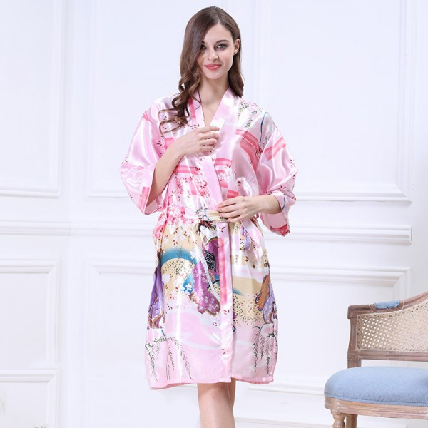 Womens Short Satin Robe Kimono Chinese Ancient Style Print 9 Colors Summer