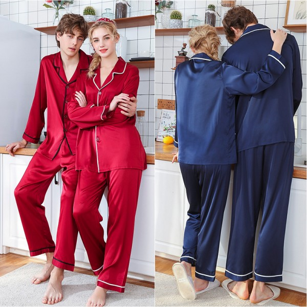 Womens & Mens Satin Shirt & Pants 2Pcs Pajamas Sets Simple Style